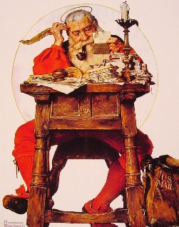 Santa reading his holiday mail