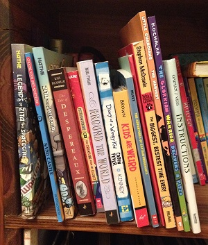 I love the variety of book spines on my kid's bookshelf...