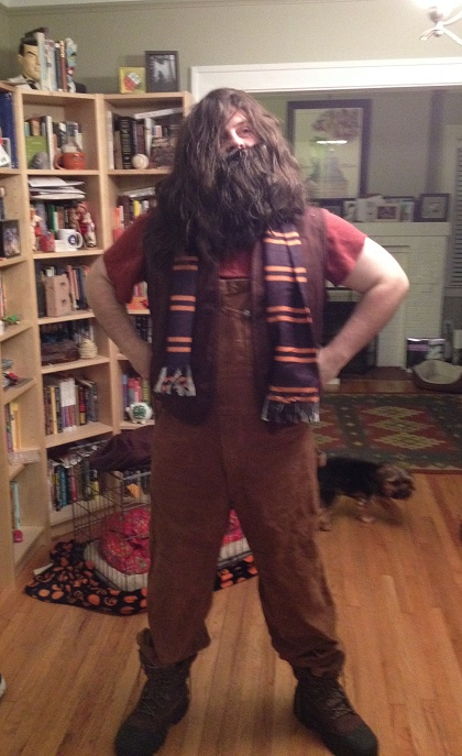 Originally, I was supposed to be playing Hagrid in the hallway, but I ended up as a Death Eater the whole time. Here was the Hagrid costume I'd thrown together just in case...