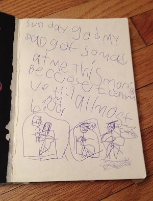 An early notebook. My daughter's handwriting is marginally better now...